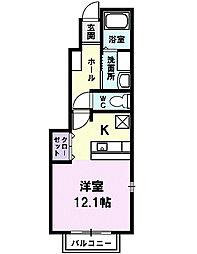 名鉄犬山線 徳重・名古屋芸大駅 徒歩8分の賃貸アパート 1階1Kの間取り