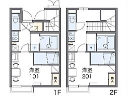 JR中央線 高尾駅 バス24分 のぼり川下車 徒歩2分の賃貸アパート 2階1Kの間取り