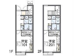 京王高尾線 狭間駅 徒歩12分の賃貸アパート 1階1Kの間取り