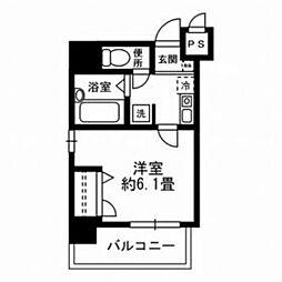 東京メトロ日比谷線 八丁堀駅 徒歩3分の賃貸マンション 5階1Kの間取り