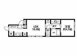 西武新宿線 花小金井駅 徒歩15分の賃貸アパート 1階1LDKの間取り