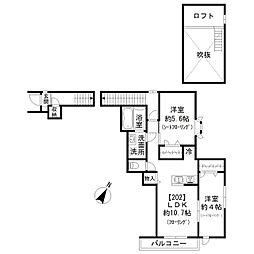 東急東横線 祐天寺駅 徒歩12分の賃貸アパート 2階2LDKの間取り