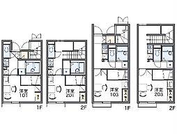 西武新宿線 東村山駅 徒歩19分の賃貸アパート 1階1Kの間取り