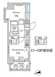 東京メトロ東西線 門前仲町駅 徒歩5分の賃貸マンション 10階1DKの間取り