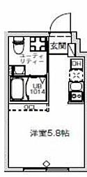 東急池上線 千鳥町駅 徒歩2分の賃貸マンション 4階1Kの間取り
