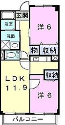 埼玉新都市交通 加茂宮駅 徒歩10分の賃貸マンション 2階2LDKの間取り