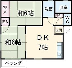 埼玉新都市交通 鉄道博物館(大成)駅 徒歩15分の賃貸アパート 1階2DKの間取り