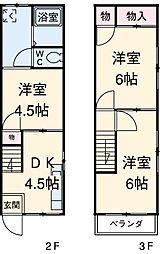 熊倉コーポ 2階3DKの間取り