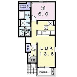 JR両毛線 山前駅 徒歩11分の賃貸アパート 1階1LDKの間取り