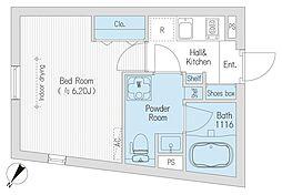 都営大江戸線 代々木駅 徒歩5分の賃貸マンション 4階1Kの間取り