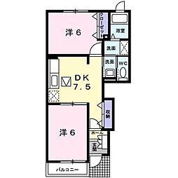JR高崎線 鴻巣駅 バス11分 上谷氷川神社前下車 徒歩5分の賃貸アパート 1階2DKの間取り