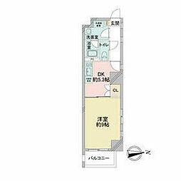 レジディア東桜 5階1DKの間取り
