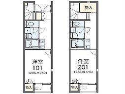 愛知環状鉄道 新上挙母駅 徒歩13分の賃貸アパート 1階1Kの間取り
