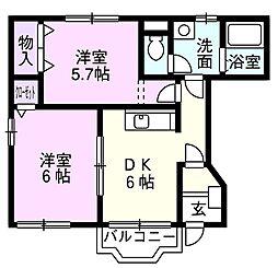 JR総武本線 榎戸駅 徒歩5分の賃貸アパート 1階2DKの間取り