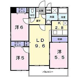 JR篠栗線 柚須駅 徒歩6分の賃貸マンション 6階3LDKの間取り