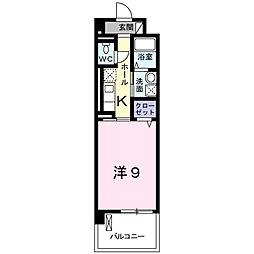 JR東海道本線 豊橋駅 バス11分 元下地下車 徒歩10分の賃貸マンション 2階1Kの間取り