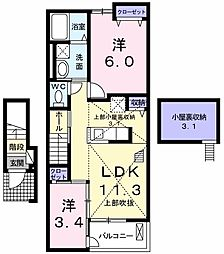 JR青梅線 小作駅 徒歩30分の賃貸アパート 2階2LDKの間取り