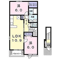 JR常磐線 大津港駅 徒歩21分の賃貸アパート 2階2LDKの間取り