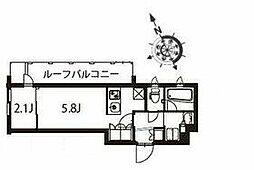 京急本線 立会川駅 徒歩3分の賃貸マンション 5階1DKの間取り