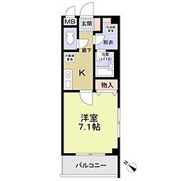 名鉄羽島線 新羽島駅 徒歩9分の賃貸マンション 3階1Kの間取り