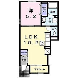 東武小泉線 篠塚駅 5.1kmの賃貸アパート 1階1LDKの間取り
