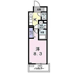 都営新宿線 瑞江駅 徒歩17分の賃貸マンション 8階1Kの間取り