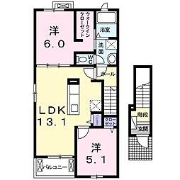 JR東海道本線 戸塚駅 バス20分 久保下車 徒歩3分の賃貸アパート 2階2LDKの間取り