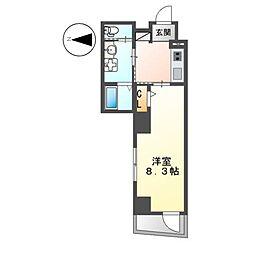 都営新宿線 東大島駅 徒歩19分の賃貸マンション 2階1Kの間取り