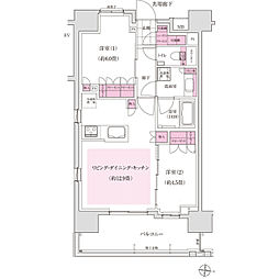 東京メトロ東西線 木場駅 徒歩7分の賃貸マンション 1階2LDKの間取り