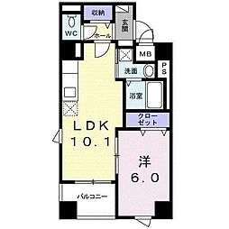 東京メトロ東西線 東陽町駅 徒歩13分の賃貸マンション 3階1LDKの間取り