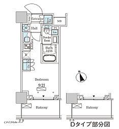 JR山手線 大塚駅 徒歩2分の賃貸マンション 22階ワンルームの間取り