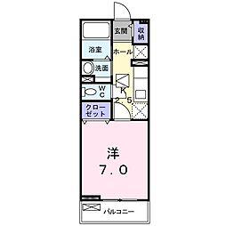JR青梅線 河辺駅 徒歩5分の賃貸アパート 1階1Kの間取り