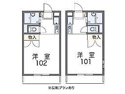 JR東北本線 久喜駅 徒歩20分の賃貸アパート 1階1Kの間取り