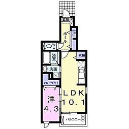 名鉄名古屋本線 小田渕駅 徒歩4分の賃貸アパート 1階1LDKの間取り