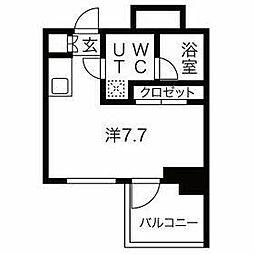相鉄本線 西横浜駅 徒歩9分の賃貸マンション 2階ワンルームの間取り