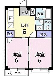JR高崎線 本庄駅 徒歩20分の賃貸アパート 2階2DKの間取り