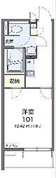 JR常磐線 神立駅 徒歩13分の賃貸マンション 2階1Kの間取り