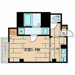 小田急小田原線 下北沢駅 徒歩10分の賃貸マンション 2階1Kの間取り