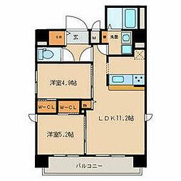名鉄名古屋本線 山王駅 徒歩9分の賃貸マンション 7階2LDKの間取り