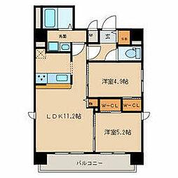 名鉄名古屋本線 山王駅 徒歩9分の賃貸マンション 8階2LDKの間取り
