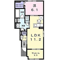JR常磐線 佐和駅 徒歩12分の賃貸アパート 1階1LDKの間取り