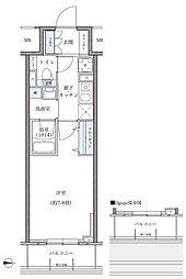 名古屋市営東山線 新栄町駅 徒歩8分の賃貸マンション 6階1Kの間取り