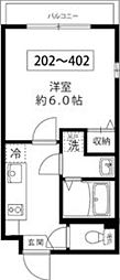 東京メトロ南北線 王子駅 徒歩10分の賃貸マンション 2階1Kの間取り