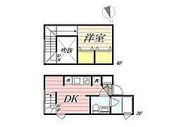 東京メトロ丸ノ内線 新宿三丁目駅 徒歩8分の賃貸マンション 3階1DKの間取り