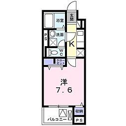 京王線 東府中駅 徒歩11分の賃貸マンション 4階1Kの間取り