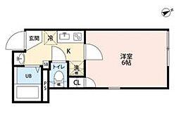 JR常磐線 北千住駅 徒歩12分の賃貸マンション 2階1Kの間取り