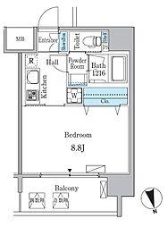 名古屋市営東山線 池下駅 徒歩2分の賃貸マンション 6階1Kの間取り