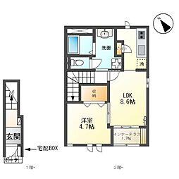 JR常磐線 大甕駅 バス16分 サンピア日立下車 徒歩7分の賃貸アパート 2階1LDKの間取り