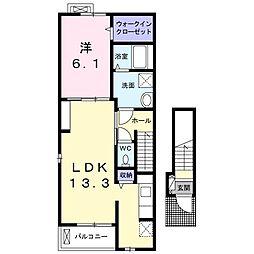 JR東海道本線 豊橋駅 徒歩21分の賃貸アパート 2階1LDKの間取り