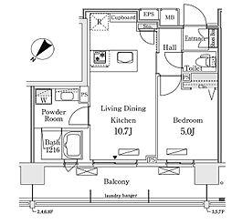 東京メトロ有楽町線 豊洲駅 徒歩12分の賃貸マンション 4階1LDKの間取り